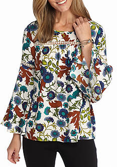 New Directions Floral Printed Blouse