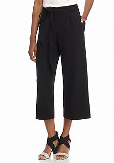New Directions Tie Front Wide Leg Crop Pants