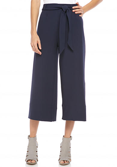 New Directions® Tie Front Wide Leg Ankle Pants