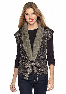 New Directions Tie-Front Faux Fur Collar Sweater