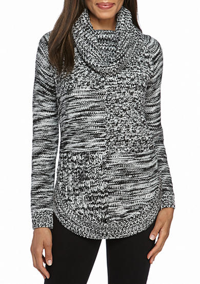 New Directions® Mixed Stitch Cowl Neck Sweater