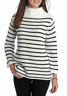 New Directions Stripe Thermal Stitch Mock Neck Sweater