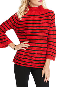 New Directions Stripe Thermal Stitch Sweater