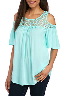 New Directions® Lace Cold Shoulder Blouse