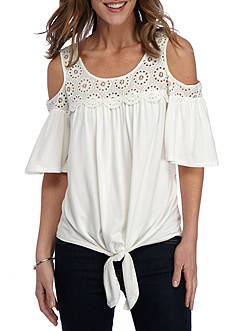 New Directions® Tie Front Cold Shoulder Top