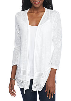 New Directions Lace Hem Open Front Cardigan