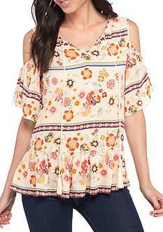 New Directions Short Sleeve Floral Cold Shoulder Flounce Blouse