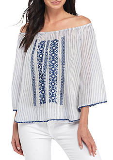 New Directions Three-Quarter Off-the-Shoulder Embroidered Top