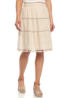 New Directions Solid Tiered Midi Skirt