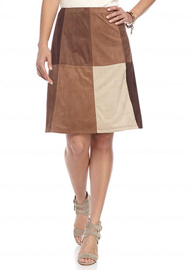 New Directions® Petite Suede Patchwork Skirt