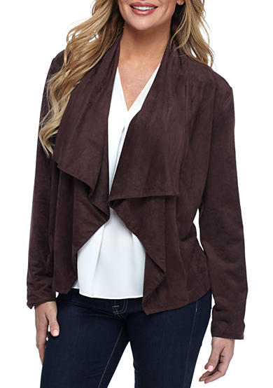 New Directions® Petite Faux Suede Waterfall Jacket