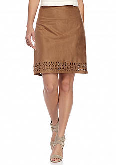 New Directions Petite Faux Suede Skirt