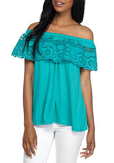 New Directions Petite Off-The-Shoulder Ruffle Top