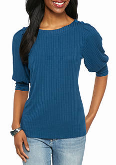 New Directions Petite Button Shoulder Ribbed Top