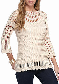 New Directions® Petite Size Three-Quarter Sleeve Open Stitch Top