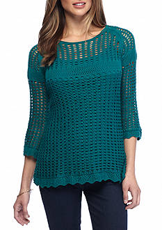 New Directions Petite Size Three-Quarter Sleeve Open Stitch Top