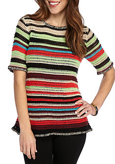 New Directions® Petite Striped Open Weave Sweater