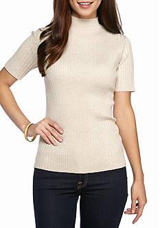 New Directions Petite Size Ribbed Mock Neck Sweatshirt