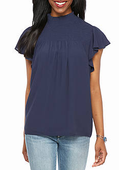 New Directions® Petite Solid Mock Neck Top