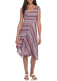 New Directions Petite Size Printed Swing Dress