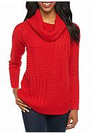 New Directions® Petite Long Sleeve Cowl Neck