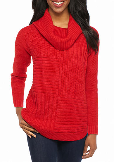New Directions® Petite Long Sleeve Cowl Neck Sweater