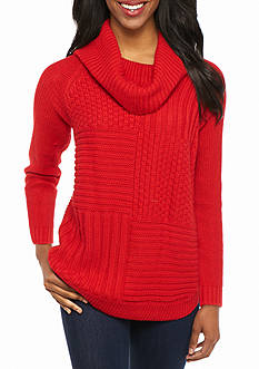 New Directions Petite Long Sleeve Cowl Neck Sweater