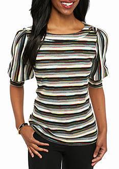 New Directions Petite Printed Button Shoulder Top