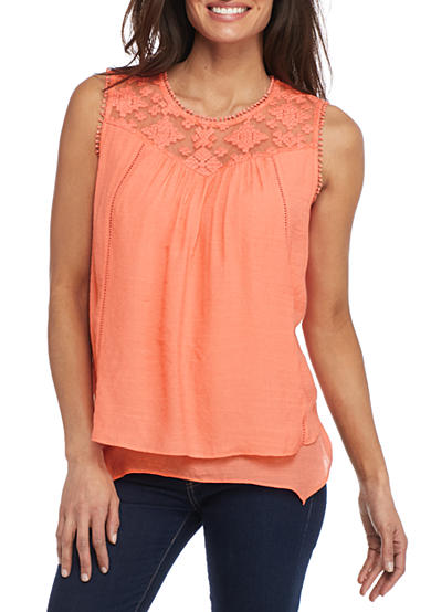 New Directions® Petite Tiered Lace Yoke Blouse