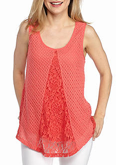 New Directions Petite Allover Crochet Top