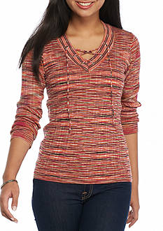 New Directions Petite Ribbed Lace-Up Sweater