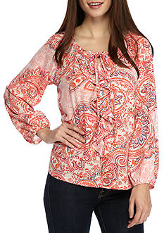 New Directions Petite Printed Ruffle Front Top