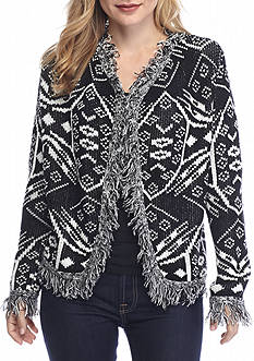 New Directions Petite Size Fringe Print Sweater Jacket