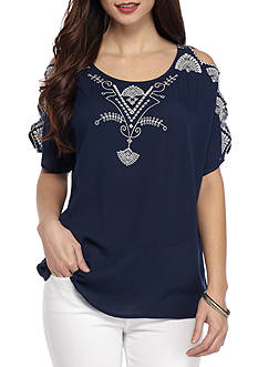 New Directions Petite Embroidered Cut Out Sleeve Top