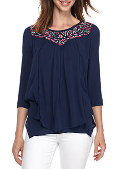 New Directions Petite Size Embroidered Yoke Top