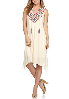 New Directions Petite Embroidered Yoke Tassel Gauze Dress