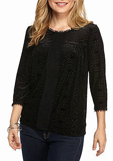 New Directions Petite Three-Quarter Sleeve Top