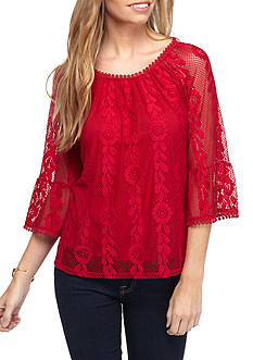 New Directions Petite Three-Quarter Bell Sleeve Lace Overlay Knit Top