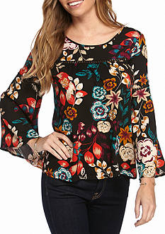 New Directions Floral Print Babydoll Blouse