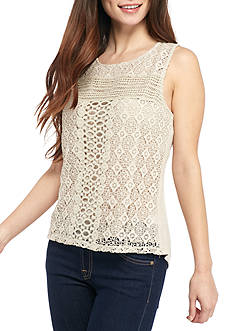 New Directions Petite Sleeveless Allover Crocheted Solid Tank