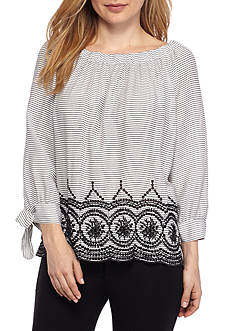 New Directions Petite Size Off-The-Shoulder Striped Blouse