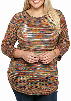 New Directions Plus Size Scoop Neck Knit Sweater