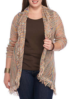 New Directions Plus Size Spacedeye Fringe Cardigan