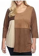 New Directions® Faux Suede Patchwork Tunic