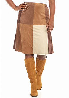 New Directions Plus Size Faux Suede Patchwork Flare Skirt