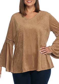 New Directions Plus Size Faux Suede Crochet Sleeve Inset Top