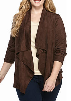 New Directions Plus Faux Suede Waterfall Jacket