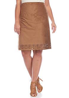 New Directions Plus Size Faux Suede Lazer Cut Skirt