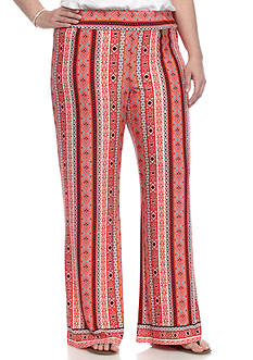 New Directions Plus Size Vertical Mixed Print Soft Pants