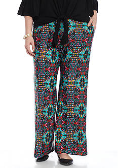 New Directions Plus Size Printed Soft Pants
